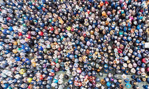 A bird's-eye view of a huge crowd of people.